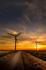Road, fields, windmills, sunset, sky, clouds