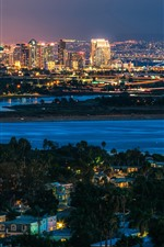 Preview iPhone wallpaper San Diego, city, night, river, lights, USA