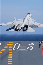 Shenyang J-15 fighter take off from carrier