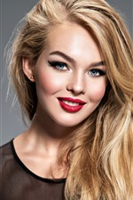 Smile blonde girl, blue eyes, red lip, makeup