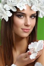 Smile girl, long hair, white flowers