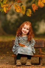 Preview iPhone wallpaper Smile little girl, cute child, leaves, autumn