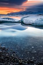Snow, ice, sea, water, pebbles, winter