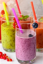Some cups of smoothies, colorful, drinks