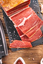 Preview iPhone wallpaper Some slice of meat, knife, spices