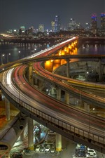 South Korea, Seoul, city, night, highway, roads, bridge, river, lights