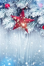 Estrelas, galhos, neve, bolas de Natal, decoração, brilham
