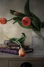 Still life, books, tulips, desktop