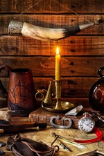 Preview iPhone wallpaper Still life, candle, flame, skull