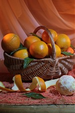 Still life, fruit, oranges, candles, fire