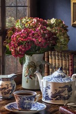 Still life, hydrangea, window, kettle, tea, books, lamp