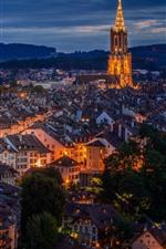 Suíça, berna, noturna, cidade, casas, luzes