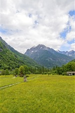 Switzerland, Canton Ticino, fields, mountains, clouds, countryside