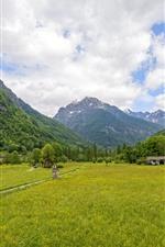 Suíça, cantão, Ticino, campos, montanhas, nuvens, campo