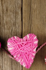 Preview iPhone wallpaper Three love hearts, wool thread
