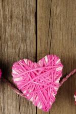 Three love hearts, wool thread