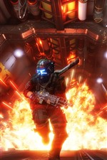 Preview iPhone wallpaper Titanfall 2, explosion, soldier, run