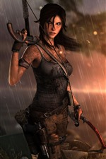 Preview iPhone wallpaper Tomb Raider, Lara Croft, rain, sunset, sea