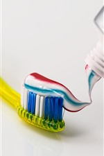 Toothbrush, colorful toothpaste