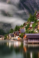 Preview iPhone wallpaper Travel to Hallstatt, Austria, lake, houses, fog, morning