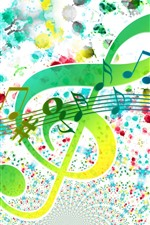 Treble clef, sheet music, colorful, creative picture