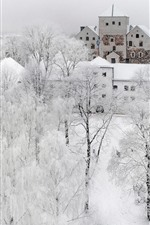 Turku in the winter, snow, trees, city, white world, Finland
