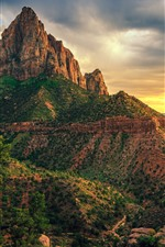 Preview iPhone wallpaper USA, Zion National Park, mountains, clouds, dusk