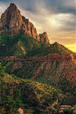 USA, Zion National Park, mountains, clouds, dusk
