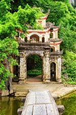 Vietnã, província de Ninh Binh, arbustos, montanhas, verde, lago, Archway