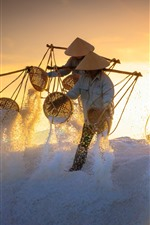 Vietnam, people, salt, sunset, worker