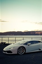 Preview iPhone wallpaper White and silver Lamborghini luxury sport cars, San Francisco, bridge, USA