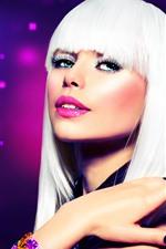 Garota de cabelo branco, moda, maquiagem
