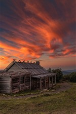 Wood house, red sky, clouds, sunset, Australia, Victoria