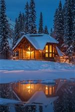 Yoho National Park no inverno, noite, cabana, luzes, lago, árvores, neve, Canadá