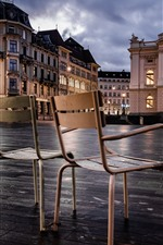 Preview iPhone wallpaper Zurich, Switzerland, chairs, lights, city, buildings