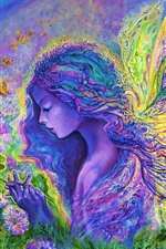 Preview iPhone wallpaper Art painting, colorful, butterfly angel girl