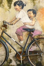 Preview iPhone wallpaper Art painting, wall, bike, childs