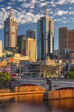 Preview iPhone wallpaper Australia, Melbourne, skyscrapers, city, bridge, river, sunshine