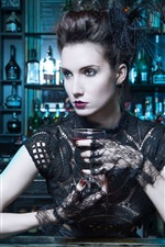 Preview iPhone wallpaper Bar, fashion girl, wine, lace