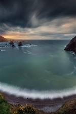 Beach, bay, sea, clouds, sunset