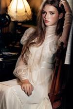 Beautiful girl, white skirt, book, lamp