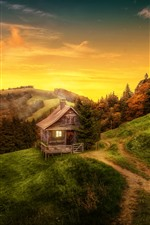 Beautiful nature landscape, house, trees, path, mountain, autumn