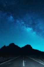 Beautiful night sky, starry, road
