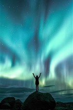 Beautiful northern lights, night, sky, girl, starry