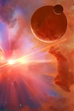 Preview iPhone wallpaper Beautiful universe, planets, sun, light ray, starry