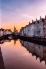 Belgium, Bruges, river, city, houses, dusk