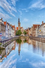 Belgium, Bruges, street, houses, river, city