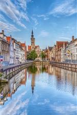 Bélgica, bruges, rua, casas, rio, cidade
