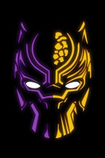 Preview iPhone wallpaper Black Panther, logo, black background