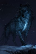 Preview iPhone wallpaper Black wolf, night, art picture